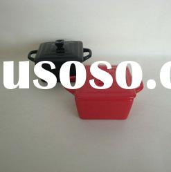 black and red square ceramic casserole pot with lid