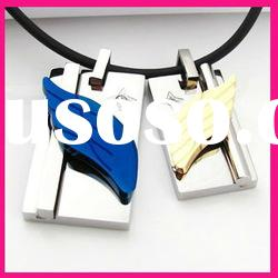 fashion angel wing charm couple pendants stainless steel leather necklace jewelry