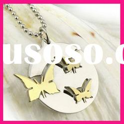 fashion yellow gold butterfly carved pendant ball chain necklace