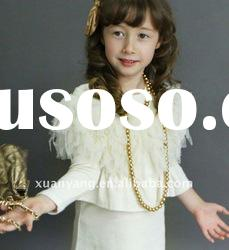 2011 high quality Yellow white color children Korean skirt with Feather