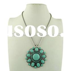 2012 New Arrival Turquoise Chunky Necklaces,Copper Chain Costume jewellery