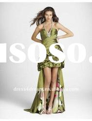 2012 short front long back evening dresses pleated in taffeta