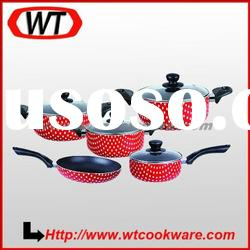 9pcs dot printing aluminum nonstick cookware set