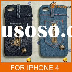 CA-Free Shipping New Fashion Jeans Protective Cover Case For iPhone 4 LF-0474