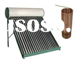 Compact pre-heated copper coil solar hot water heater with high pressure