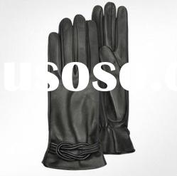 Fashion Black Leather Gloves with Knot