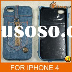 Free Shipping New Fashion Jeans Protective Cover Case For iPhone 4 LF-0474