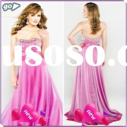 New Cheap 2011 Fashion Beautiful Strapless Sheath Bow Beaded Ruffle Satin Decently Prom Dresses