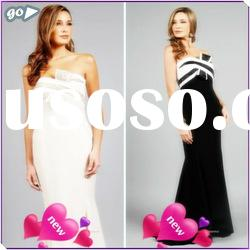 New Fashion 2011 Fashion Beautiful Strapless Sheath Beaded Bow Ruffle Satin Decently Prom Dresses