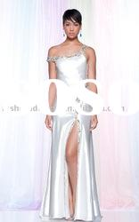 SHE648 custom made one-shoulder beaded jersey ankle length fashion evening dress