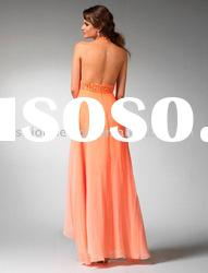 SHE699 custom made halter beaded chiffon fashion evening dress