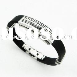 Thick & Bold Black Rubber & Stainless Steel Designer Men's Bracelet