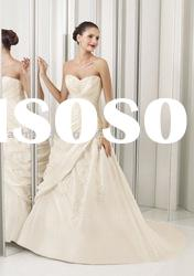 VH088 latest gorgeous strapless appliques satin tulle with long trail wedding dress