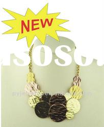 (JAN. New Arrival) Fashion Tri-plated Color Chunky Bib Necklaces,Colorful Plated Alloy Jewelry
