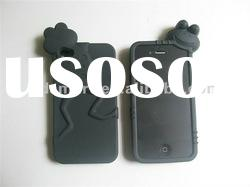 black FROG 3D DESIGN silicone gel rubber skin cover case for APPLE iPHONE 4G 4S 4GS