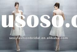 casual style strapless casual dress knee length wedding dresses transparent coat
