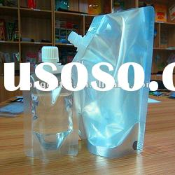 clear/ transparent plastic stand up pouch with spout