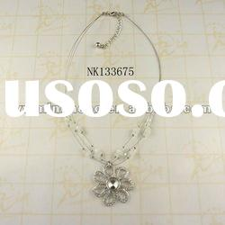 delicate design zinc alloy crystal multiple bendy chain necklaces