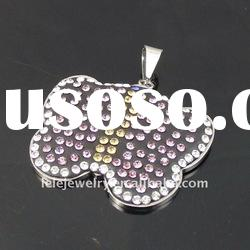 fashion stainless steel ponceau crystal butterfly pendant popular in Europe and America