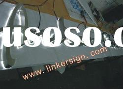 halo lit satin stainless steel letter signage