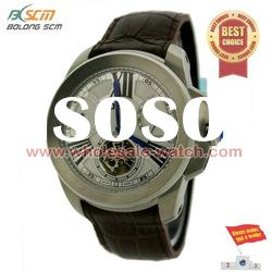stainless steel leather band quartz watch