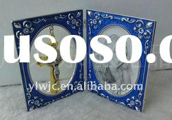 2011 new double infilled color with diamond metal photo frame ,metal photo frame,double cross frame