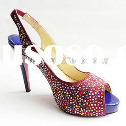 2011 red crystal peep toe shoes high heel shoes for women
