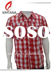 2012 Men's casual Red-White Check Short Sleeve Shirt from China SH-M11030