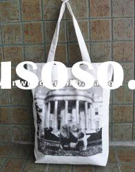 2012 Popular Tote Bags Canvas Cotton With Zipper For Promotion