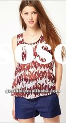 2012 new arrival high fashion elegant lady print casual tops, good quality with good price