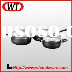 6 pcs aluminum nonstick cookware set with s/s cover
