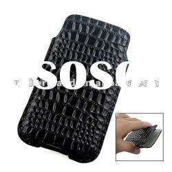 Black Crocodile Skin Vertical Leather Pouch Case for iphone