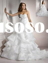 Charming Sweetheart Ball Gown Beaded Lace Organza Wedding Dresses