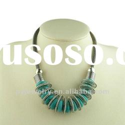 Chunky Turquoise Collar Necklace Accessory, Fashion Costume Jewelry