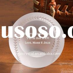 Engraving Crystal Baseball Paperweight With Facet