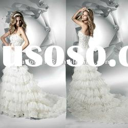 Fantastic Strapless Tiered Ruffle Appliqued Lace Trumpet Wedding Gown