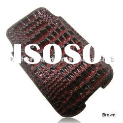 For iPhone 4S& 4G& 3Gs Crocodile Skin Leather Pouch Case Black Color
