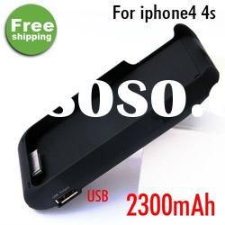 For iPhone 4 4S Extended Solar Battery Charger External Case/Cover 2300mAh battery