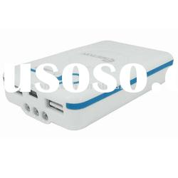 Plastic Case dual USB output 7500 MA Power Bank with 3-LED Torch