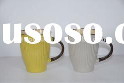 Popular Shaped Ceramic Color Mug with Black Handle
