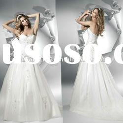 Popular Strapless Appliqued Beaded Lace Bridal Gown