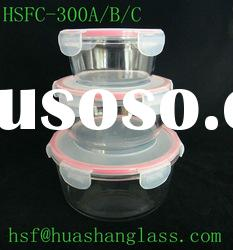 Round clear glass food container set/heat resistant/microwave oven safe