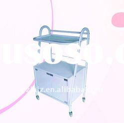 Salon tool cart made of iron frame, the wooden box and toughened glass