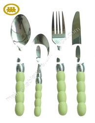 Stainless steel flatware with plastic handle