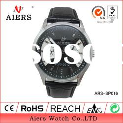 Stainless steel quartz leather band men watch
