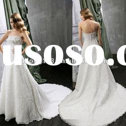 Strapless Ruffle Applqiued Lace New Style Wedding Gown