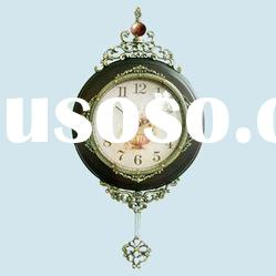 Wooden Wall clock with handcraved flower