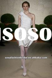 casual one shoulder ruffle accented short mini wedding dresses 2011