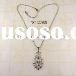 delicate design zinc alloy crystal ajustable necklaces plated silver