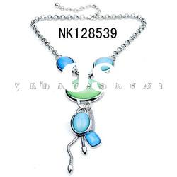 designer zinc alloy connected earring fashion necklace pendant necklace with resin stone